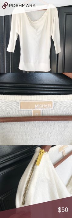 Michael Kors • Cream zipper sweater Michael Kors • Cream zipper sweater.  Gold zipper accents on shoulders.  Excellent condition; only worn a few times. Size XS  ✨Reasonable offers welcomed✨ Michael Kors Sweaters Crew & Scoop Necks