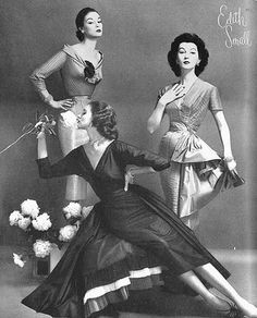 """We're used to seeing pictures of today's """"super models"""" as if this something new. but here in the 50's was a pre-cursor to all of that: an Edith Small ad (designer) featuring the top 3 models of the time: Jean Patchett, Suzy Parker and Dovima. Simply gorgeous..."""