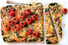 Kale, vege and pumpkin seed slice - Healthy Food Guide Healthy Food, Healthy Recipes, Fried Onions, Roasted Tomatoes, The Dish, Fresh Herbs, Cherry Tomatoes, Tray Bakes, Vegetable Pizza