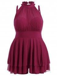 Plus Size Sleeveless High Neck Chiffon Skirted Swimsuit
