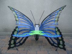 Exclusive Butterfly Garden Bench by juliecote2, so beautiful for a nook in a garden!