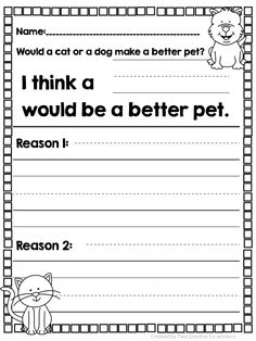 Students can choose which animal would make a better pet and then give two reasons for  their choice in this adorable opinion writing packet.