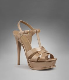 YSL Tribute High Heel Sandal in Beige Graphic Patent Leather - Sandals - Shoes - Women - Yves Saint Laurent - YSL