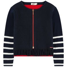 Front: Wool blend cloth Back and sleeves: Cotton knit  Short cut Crew neck Long sleeves Contrast zipper Fancy fringes Stripes on the sleeves Logo plate - $ 88