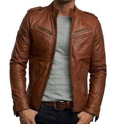 Men Slim Fit Biker Tan Fuax Leather Jacket, Men Tan Color Biker PU Leather Jacket on Etsy, $89.99