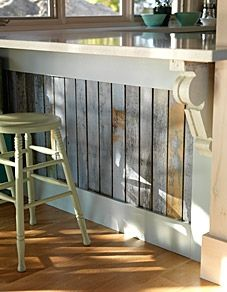 Sarah Richardson Design cottage kitchen island and counter with painted wood paneling and cool, neutral colors. Cottage Kitchens, Home Kitchens, Country Kitchens, Outdoor Kitchens, Outdoor Rooms, Outdoor Living, Home Remodeling, Home Renovation, Retro Renovation