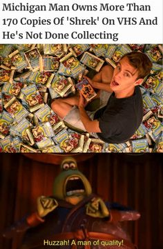 Michigan Man Owns More Than 170 Copies Of 'Shrek' On VHS And He 3 Not Done Collecting Huzzah! A man of quality! Really Funny Memes, Stupid Funny Memes, Funny Laugh, Funny Relatable Memes, Funny Posts, Hilarious, Funny Stuff, Shrek Memes, Dankest Memes