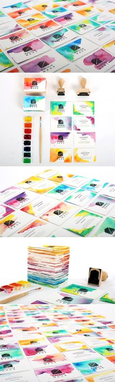 Creative DIY Watercolour And Custom Stamped Business Cards. an other way to handmade the business card. Print Design, Web Design, Logo Design, Design Cars, Corporate Design, Business Card Design, Draw Tutorial, Stamped Business Cards, Creative Business Cards