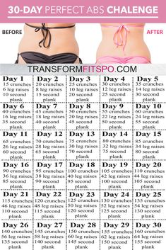 Fitness workout for women - Perfect Abs 30 Day Challenge One month of workouts to melt belly fat and tone abs! – Fitness workout for women Weight Loss Challenge, 30 Day Challenge, Workout Challenge, Best Weight Loss, Dip Workout, 30 Day Fitness, Fitness Workout For Women, Health And Fitness Tips, Health Tips