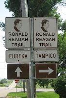 Ronald Reagan Trail sign in the town of Ohio, Illinois in Bureau County.