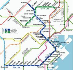 Yokohama Municipal Subway : Mapa del metro de Yokohama, Japón Yokohama, la segunda ciudad más grande en Japón, tiene un sistema de metro de 2 líneas para servir a sus 3,4 millones de habitantes. Situada tan sólo a 30 kilómetros al sur de Tokyo, funciona conjuntamente con varios trenes urbanos como son las líneas Sotetsu y Keikyu.