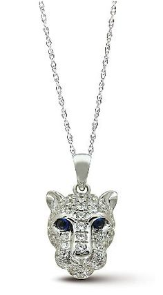 This Genuine Sapphire and CZ Lion Head Pendant is on sale for 15% off, today only! It is crafted in sterling silver and includes a sterling silver chain. (Web ID: 10613)