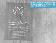 Grey Country Bridal Shower Invitations
