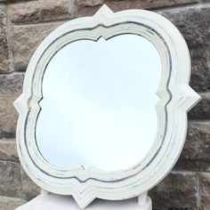 White, Distressed, Quatrefoil Mirror Farmhouse Homes, Quatrefoil, Home Decor Items, Etsy Seller, Handmade Items, Etsy Shop, Rustic, Mirror, Creative