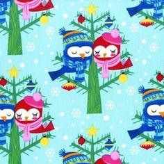 Michael Miller House Designer - All the Trimmings - Christmas Lovebirds in Winter