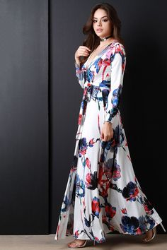 Floral Print Surplice Longsleeve Dress