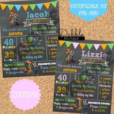 Zootopia Birthday Chalkboard / Zootopia by TinasDabbleBoutique