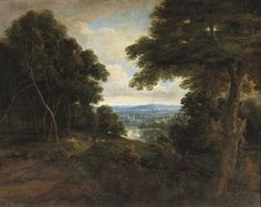 An Extensive Wooded Landscape With Travellers on a Path by Jacques d'Arthois