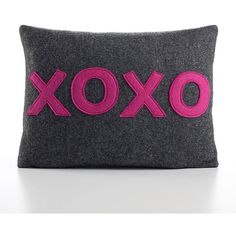 Alexandra Ferguson Xoxo Throw Pillow Stone / Red 10 X 14 By ($64) ❤ liked on Polyvore featuring home, home decor, throw pillows, stone home decor, red toss pillows, quote throw pillows, red home decor and red home accessories