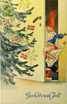 """""""God norsk jul"""" julekort nr. 504, tegnet av Frank Wathne, utgitt på Åsmund S. Lærdals forlag, Stavanger, 1941 © Frank Wathne / BONO 2011 Pinned from https://www.facebook.com/groups/189512717887852/"""