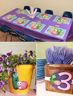 Pink & Purple Veggie Tales Theme Party