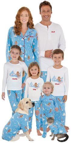 for the Family with Cute Holiday Family Collections! Love these blue gingerbread matching family pajamas!Love these blue gingerbread matching family pajamas! Family Pajama Sets, Matching Family Christmas Pajamas, Family Pjs, Matching Pajamas, Family Outfits, Best Pajamas, Cute Pajamas, Pajamas Women, Christmas Gifts For Adults