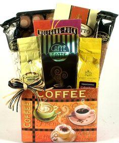 Caffe Latte Gourmet Coffee Gift Basket | Office Gift Basket or Birthday Gift Basket for the Coffee Lover $39.95