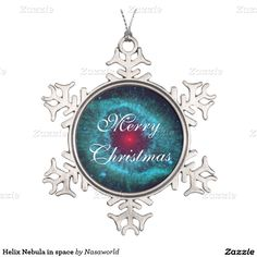 Helix Nebula in space Snowflake Pewter Christmas Ornament