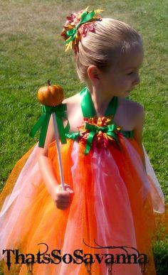 Pumpkin Fairy Tutu with Wand and Hair Bow