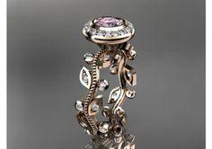 14k rose gold diamond leaf and vine wedding ring,engagement ring with morganite center stone - TheWeddingMile.com