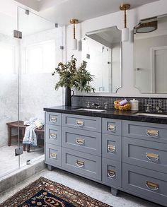 Gray cabinets in bathroom