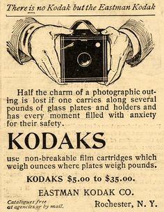 1899 Ad Eastman Kodak Co Camera Photographic Device Original Advertising Antique Cameras, Old Cameras, Vintage Cameras, Vintage Ads, Old Photography, Advertising Photography, Photography Camera, Photography Packaging, Kodak Camera