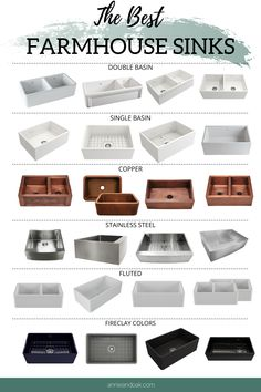Fireclay Farmhouse Sinks Learn how to choose the perfect farmhouse sink for your kitchen. We have re Black Farmhouse Sink, Fireclay Farmhouse Sink, Fireclay Sink, Farmhouse Sink Kitchen, Deep Kitchen Sinks, Kitchen Basin Sink, Stainless Steel Farmhouse Sink, Deep Sink, Farmhouse Cabinets