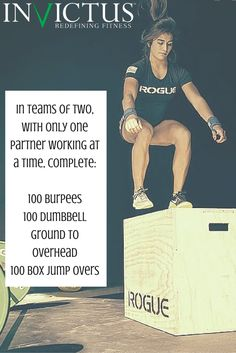 Grab a friend and do this awesome partner workout by CrossFit Invictus. Perfect for any gym, park or garage workout! ______________________________ In teams of two, with only one partner working at a time, complete: ______________________________ 100 Burpees 100 Dumbbell Ground to Overhead 100 Box Jump Overs ___________________________
