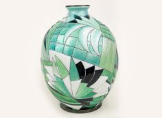Camille Fauré (Limoges 1874–1956)~Large enameled copper vase in geometric green shades