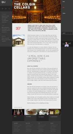 Web design inspiration: QLI's Colgin Cellars. A great way to tackle a text-heavy web page is to add an attractive photo header and a banner of accent photos just above the footer directly viewers to other related pages.