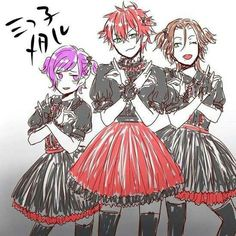 Ayato,Laito and Kanato Sakamaki xD omg omg xD xD *loses it*omg haha wow this is just lovely and of course liato is handling the pose well