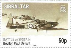 Sello: Battle of Britain - Boulton Paul Defiant (Gibraltar) Anniv. of the Battle of Britain) Mi:GI 1351 Aviation World, Battle Of Britain, Vintage Stamps, World War, Wwii, Planes, Postcards, Coins, Poster