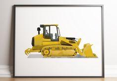 Bulldozer Print, Construction Wall Art, Transportation Decor, Construction Printable, Toddler Boy Decor, Truck Print, Boy Nursery Art