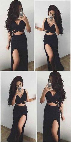 Black Two Pieces Side Slit Long Sexy Beach Prom Dresses 9395 #LoveDresses #longpromdress #charmingpromgown #fashionpromdress #elegantpartydress #promdress #promgown #blackpromdress