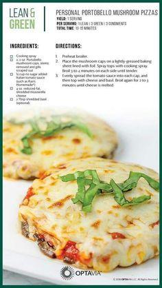 Lean and Green Personal Portobello Mushroom Pizzas Medifast Recipes, Low Carb Recipes, Diet Recipes, Vegetarian Recipes, Cooking Recipes, Healthy Recipes, Green Vegetarian, Vegetarian Pizza, Vegetarian Barbecue