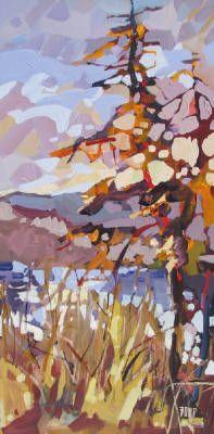 Rick Bond, Kalamalka Grasses, Acrylic on Canvas 30 X 15 in.