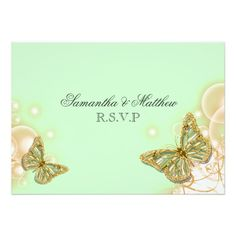 Green beige butterfly wedding engagement RSVP Invites