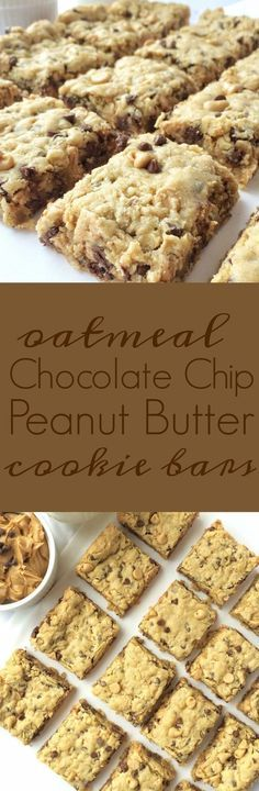 Oatmeal Chocolate Chip Peanut Butter Bars- I used butterscotch chips instead of PB. So good!
