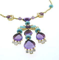 Bulgari Mediterranean Eden Turquoise Amethyst Diamond Gold Neckace | From a unique collection of vintage more necklaces at https://www.1stdibs.com/jewelry/necklaces/more-necklaces/