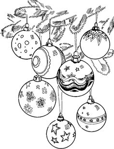 7 Christmas Ornaments - free printable Christmas coloring pages for adults
