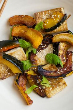 Sweet & Spicy Roasted Tofu & Squash [substitute maple syrup for Low FODMAP]