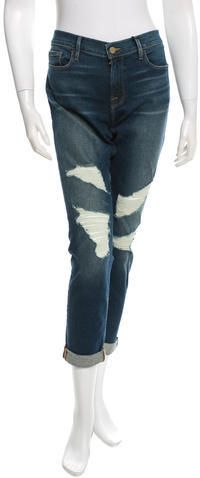 Frame Denim Distressed Mid-Rise Jeans w/ Tags Frame Denim, Zip, Tags, Stylish, Blue, Women, Fashion, Moda, Fashion Styles