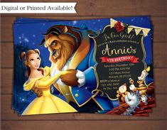 Beauty and the Beast Invitation by CindysEventCreations on Etsy https://www.etsy.com/listing/475826494/beauty-and-the-beast-invitation