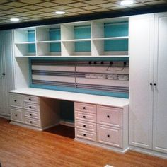 20 Best Craft Room Storage and Organization Furniture Ideas - HomeDeCraft - Cheap Craft Room Storage Cabinets Shelves Ideas 32 – ViraLinspirationS - Scrapbook Room, Room Design, Room Organization, Office Crafts, Sewing Room Design, Space Crafts, Organization Furniture, Basement Craft Rooms, Basement Design
